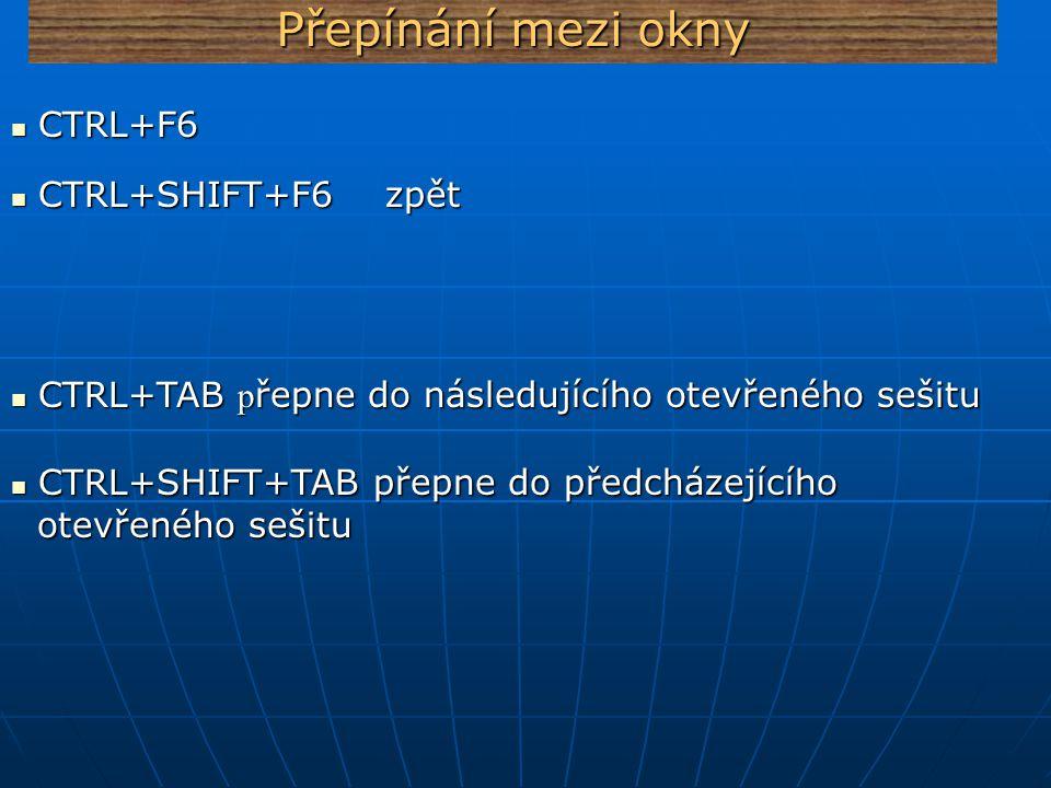 Přepínání mezi okny CTRL+SHIFT+F6 zpět CTRL+SHIFT+F6 zpět CTRL+F6 CTRL+F6 CTRL+TAB p řepne do následujícího otevřeného sešitu CTRL+TAB p řepne do násl