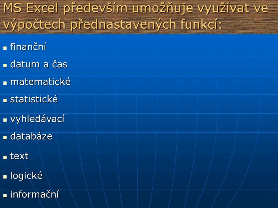 MS Excel především umožňuje: automaticky nebo manuálně přepočítávat vložené automaticky nebo manuálně přepočítávat vložené vzorce vzorce propojovat ve výpočtech data z různých listů, ale i propojovat ve výpočtech data z různých listů, ale i sešitů (práce v trojrozměrném prostoru) sešitů (práce v trojrozměrném prostoru) správu, třídění a filtrování dat správu, třídění a filtrování dat kreslení ve vektorovém formátu kreslení ve vektorovém formátu vkládání hotových grafických objektů (Klipart), vkládání hotových grafických objektů (Klipart), symbolů, automatických tvarů, ozdobných textů symbolů, automatických tvarů, ozdobných textů (WordArt), vývojových diagramů a organizačních (WordArt), vývojových diagramů a organizačních schémat ve vektorové grafice schémat ve vektorové grafice tvorbu formulářů - pomocí ovládacích tlačítek a jiných tvorbu formulářů - pomocí ovládacích tlačítek a jiných prvků prvků
