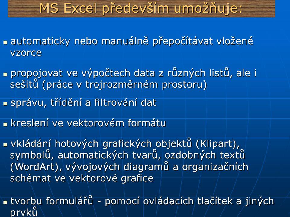 MS Excel především umožňuje: vkládání obrázků a jejich formátování vkládání obrázků a jejich formátování tvorbu 2 a 3 rozměrných grafů tvorbu 2 a 3 rozměrných grafů použítí přednastavených automatických formátů, použítí přednastavených automatických formátů, které mění vzhled celé tabulky které mění vzhled celé tabulky zaznamenávat a využívat makra pro automatizaci zaznamenávat a využívat makra pro automatizaci některých operací některých operací vytvářet programy pomocí jazyka Visual Basic vytvářet programy pomocí jazyka Visual Basic vkládat hypertextové odkazy a vytvářet z tabulek vkládat hypertextové odkazy a vytvářet z tabulek www stránky www stránky