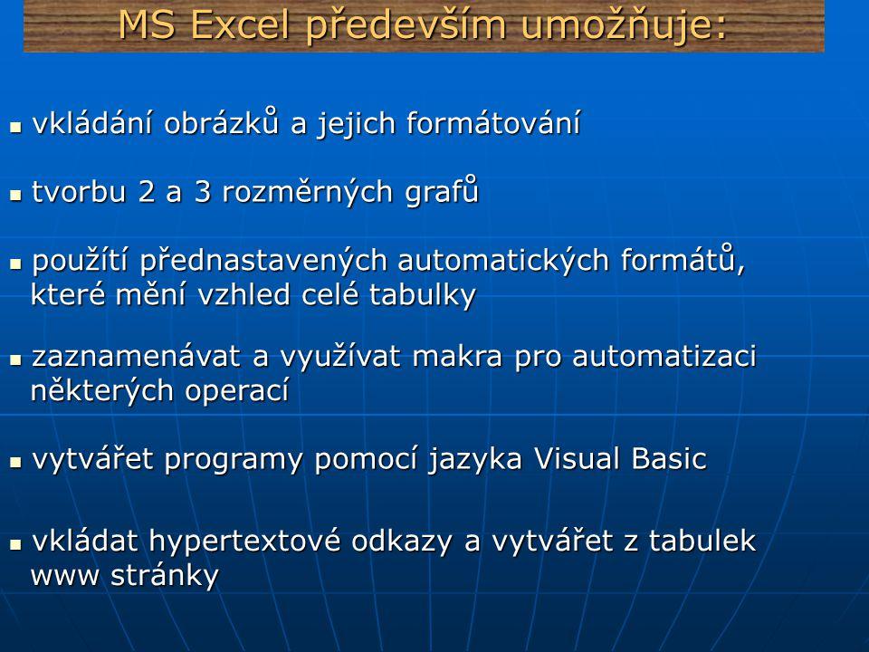 MS Excel především umožňuje: vkládat zápatí, záhlaví, prohlížet si náhledy a dále vkládat zápatí, záhlaví, prohlížet si náhledy a dále upravit dokument k tisku upravit dokument k tisku vytvářet a využívat již předdefinovaných šablon vytvářet a využívat již předdefinovaných šablon vkládání dalších objektů (zvuků, videa…..