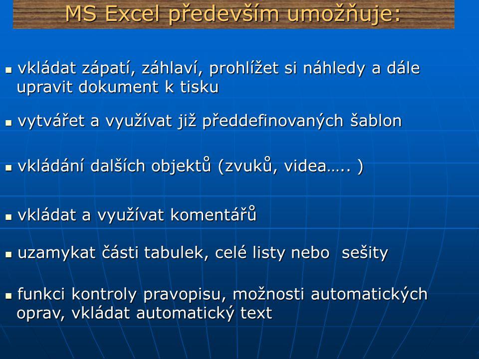 MS Excel instalace Instalace z CD automaticky (případně jiných zdrojů) Instalace z CD automaticky (případně jiných zdrojů) nebo spustit soubor setup.exe nebo spustit soubor setup.exe Je třeba zadat místo pro uložení a také sériové číslo.