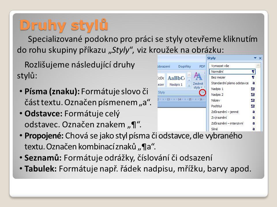 Druhy stylů Rozlišujeme následující druhy stylů: Písma (znaku): Formátuje slovo či část textu.