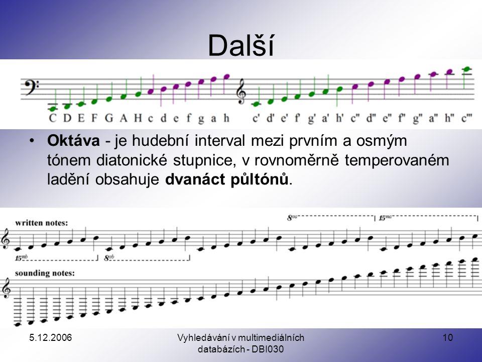 5.12.2006Vyhledávání v multimediálních databázích - DBI030 10 Další Oktáva - je hudební interval mezi prvním a osmým tónem diatonické stupnice, v rovnoměrně temperovaném ladění obsahuje dvanáct půltónů.