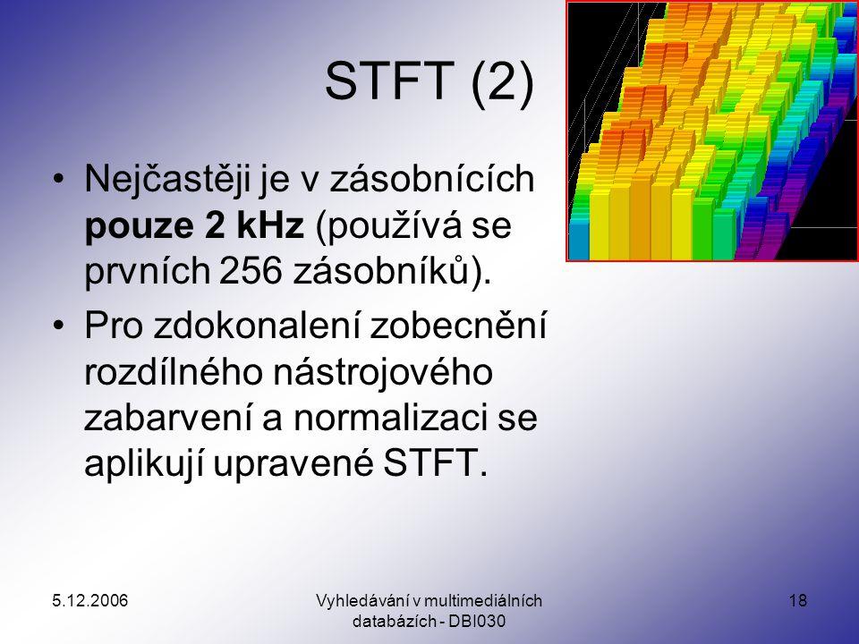 5.12.2006Vyhledávání v multimediálních databázích - DBI030 18 STFT (2) Nejčastěji je v zásobnících pouze 2 kHz (používá se prvních 256 zásobníků).