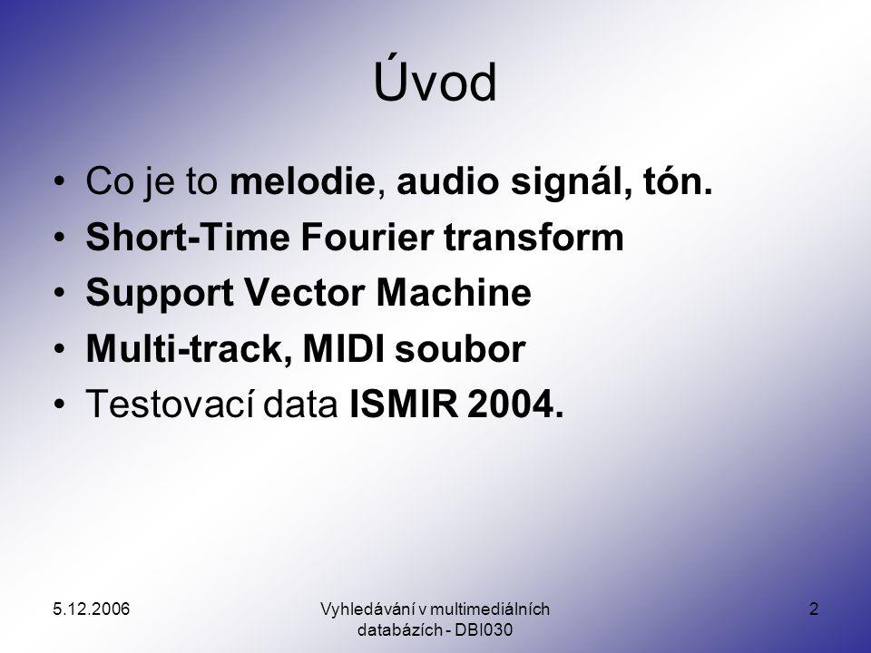 5.12.2006Vyhledávání v multimediálních databázích - DBI030 13 Melodie x Audio signál Melodie poskytuje konzistentní a přirozený popis hudby.