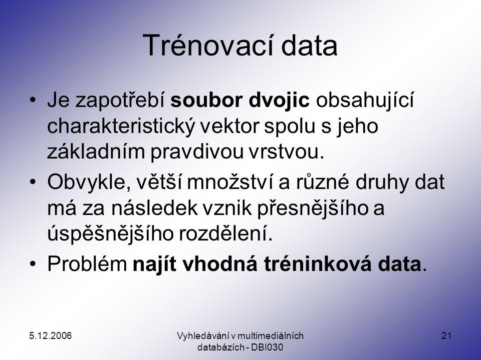 5.12.2006Vyhledávání v multimediálních databázích - DBI030 21 Trénovací data Je zapotřebí soubor dvojic obsahující charakteristický vektor spolu s jeho základním pravdivou vrstvou.
