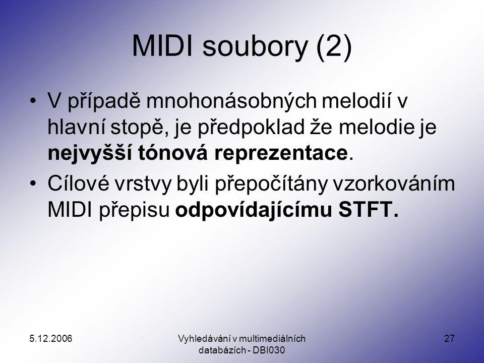 5.12.2006Vyhledávání v multimediálních databázích - DBI030 27 MIDI soubory (2) V případě mnohonásobných melodií v hlavní stopě, je předpoklad že melodie je nejvyšší tónová reprezentace.