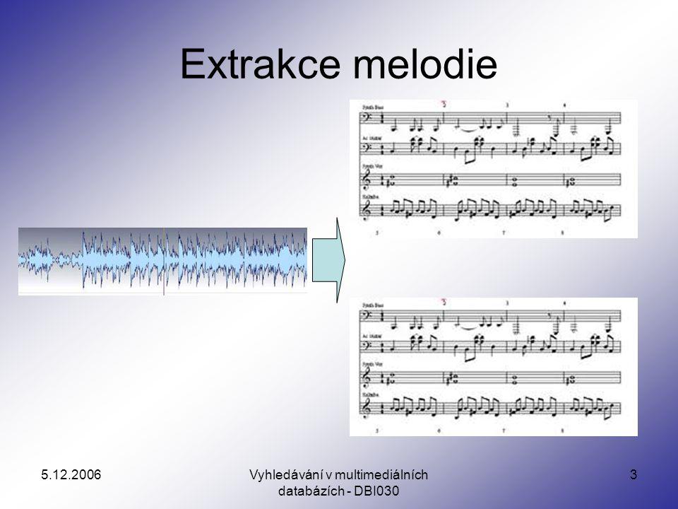 5.12.2006Vyhledávání v multimediálních databázích - DBI030 14 Typy extrakce melodie Většina převádí jen specifický audio signál –Každá část hudby je realizována harmonickou sadou základních tónů.