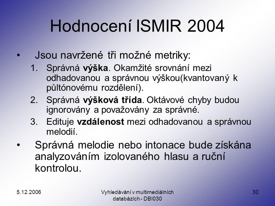 5.12.2006Vyhledávání v multimediálních databázích - DBI030 30 Hodnocení ISMIR 2004 Jsou navržené tři možné metriky: 1.Správná výška.