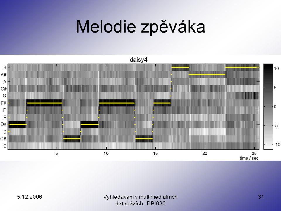 5.12.2006Vyhledávání v multimediálních databázích - DBI030 31 Melodie zpěváka