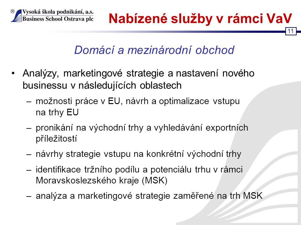 11 Nabízené služby v rámci VaV Analýzy, marketingové strategie a nastavení nového businessu v následujících oblastech –možnosti práce v EU, návrh a op