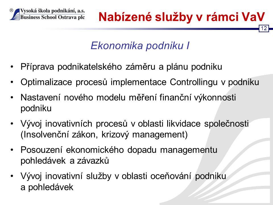 12 Nabízené služby v rámci VaV Příprava podnikatelského záměru a plánu podniku Optimalizace procesů implementace Controllingu v podniku Nastavení nové
