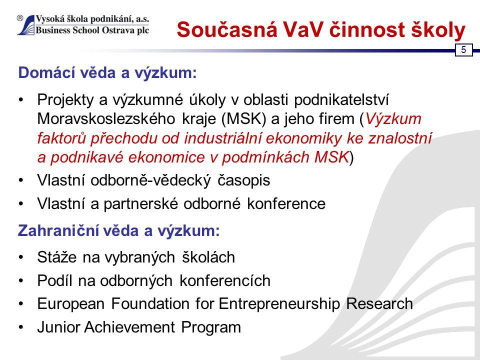5 Současná VaV činnost školy Domácí věda a výzkum: Projekty a výzkumné úkoly v oblasti podnikatelství Moravskoslezského kraje (MSK) a jeho firem (Výzk