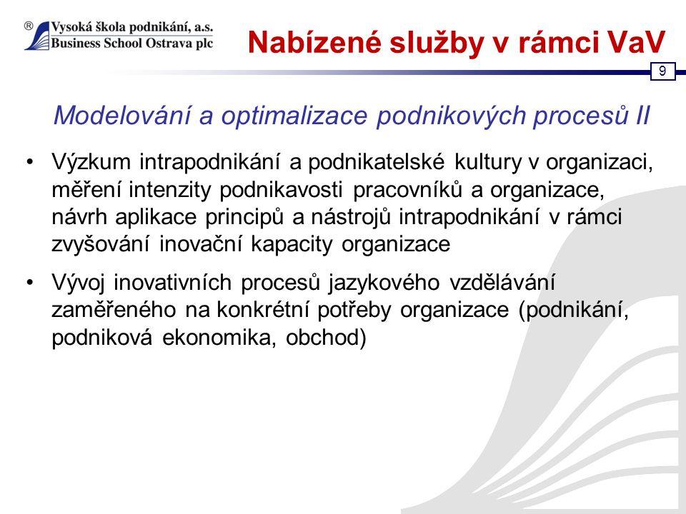 9 Nabízené služby v rámci VaV Výzkum intrapodnikání a podnikatelské kultury v organizaci, měření intenzity podnikavosti pracovníků a organizace, návrh