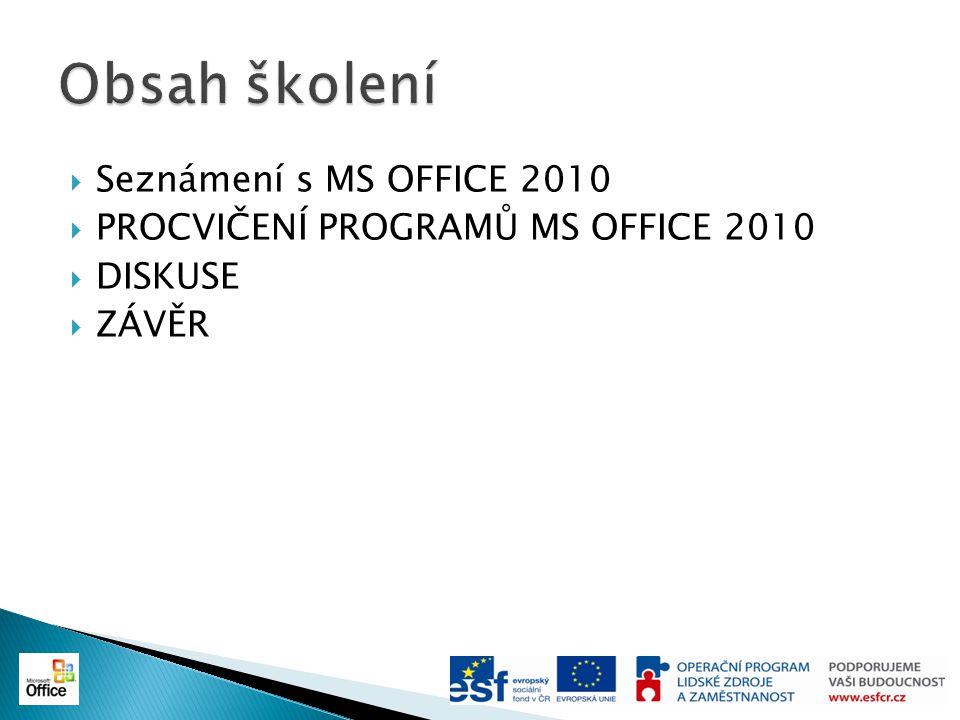  Základní součásti MS OFFICE 2010 ◦ Microsoft Word (textový procesor) ◦ Microsoft Excel (tabulkový kalkulátor) ◦ Microsoft PowerPoint (program pro vytváření prezentací) ◦ Microsoft OneNote (program pro vytváření textových nebo grafických poznámek) ◦ Microsoft Outlook (e-mailový klient) ◦ Microsoft Access (databázový program) ◦ Microsoft Publisher (aplikace pro vytváření webových stránek v HTML)