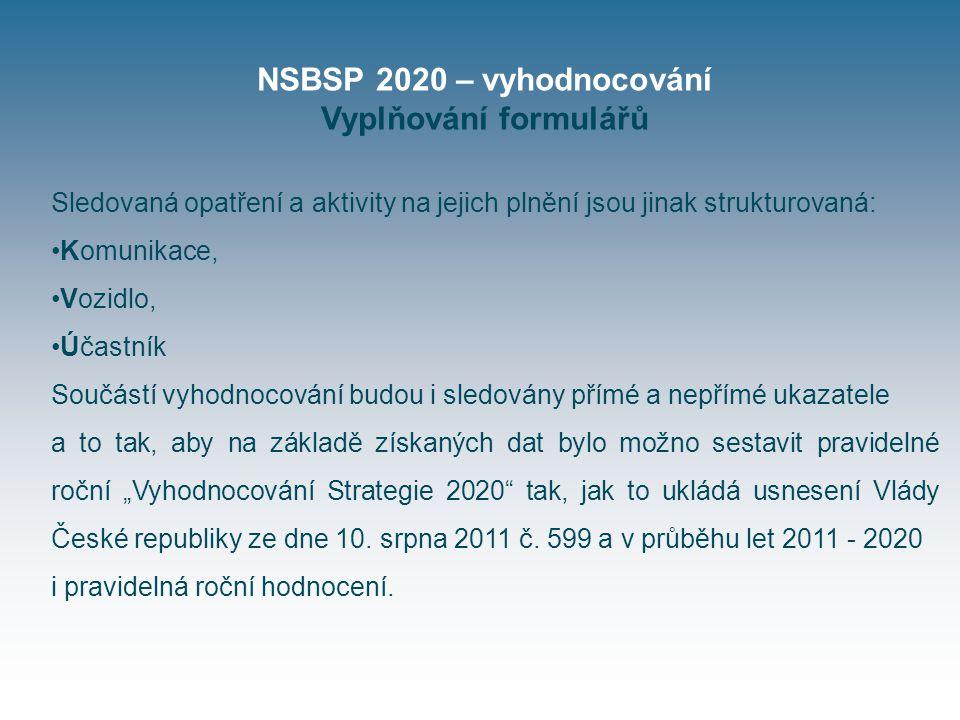 """NSBSP 2020 – vyhodnocování Vyplňování formulářů Sledovaná opatření a aktivity na jejich plnění jsou jinak strukturovaná: Komunikace, Vozidlo, Účastník Součástí vyhodnocování budou i sledovány přímé a nepřímé ukazatele a to tak, aby na základě získaných dat bylo možno sestavit pravidelné roční """"Vyhodnocování Strategie 2020 tak, jak to ukládá usnesení Vlády České republiky ze dne 10."""