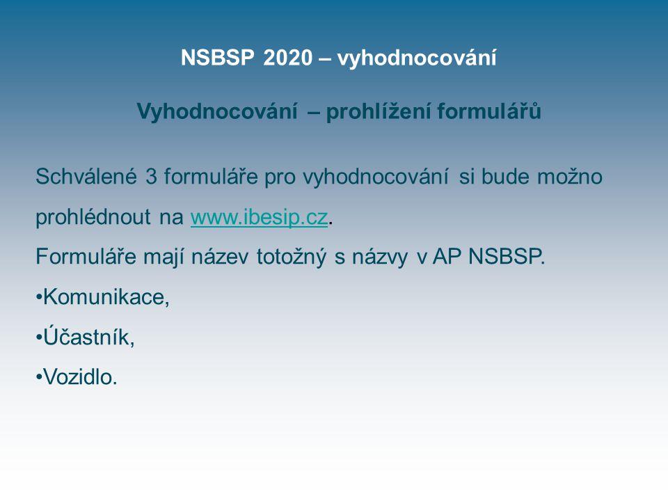 NSBSP 2020 – vyhodnocování Vyhodnocování – prohlížení formulářů Schválené 3 formuláře pro vyhodnocování si bude možno prohlédnout na www.ibesip.cz.www.ibesip.cz Formuláře mají název totožný s názvy v AP NSBSP.