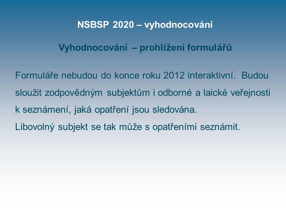 NSBSP 2020 – vyhodnocování Vyhodnocování – prohlížení formulářů Formuláře nebudou do konce roku 2012 interaktivní.