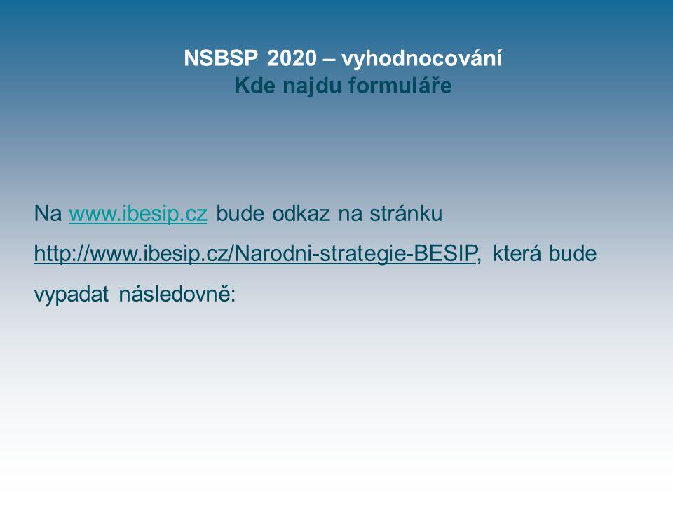 NSBSP 2020 – vyhodnocování Kde najdu formuláře Na www.ibesip.cz bude odkaz na stránku http://www.ibesip.cz/Narodni-strategie-BESIP, která bude vypadat následovně:www.ibesip.cz