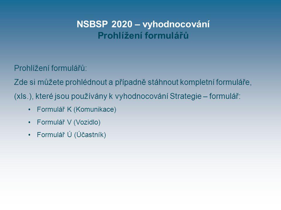 NSBSP 2020 – vyhodnocování Prohlížení formulářů Prohlížení formulářů: Zde si můžete prohlédnout a případně stáhnout kompletní formuláře, (xls.), které jsou používány k vyhodnocování Strategie – formulář: Formulář K (Komunikace) Formulář V (Vozidlo) Formulář Ú (Účastník)