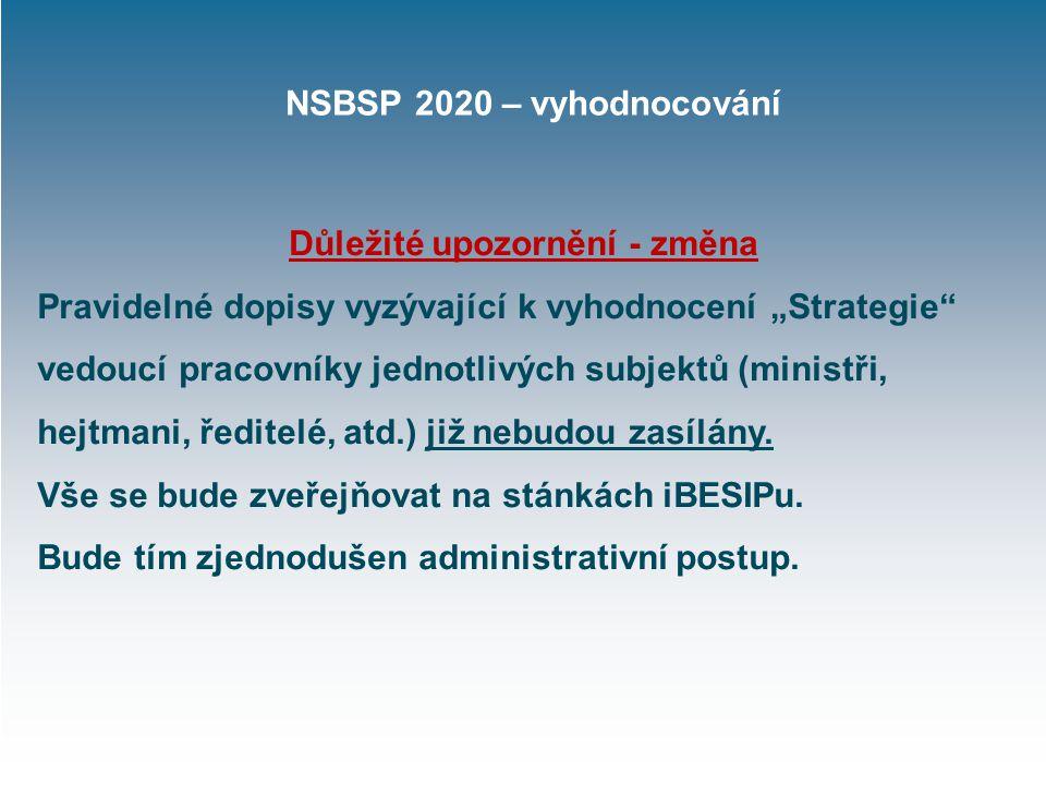 """NSBSP 2020 – vyhodnocování Důležité upozornění - změna Pravidelné dopisy vyzývající k vyhodnocení """"Strategie vedoucí pracovníky jednotlivých subjektů (ministři, hejtmani, ředitelé, atd.) již nebudou zasílány."""