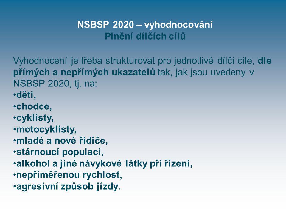 NSBSP 2020 – vyhodnocování Plnění dílčích cílů Vyhodnocení je třeba strukturovat pro jednotlivé dílčí cíle, dle přímých a nepřímých ukazatelů tak, jak jsou uvedeny v NSBSP 2020, tj.