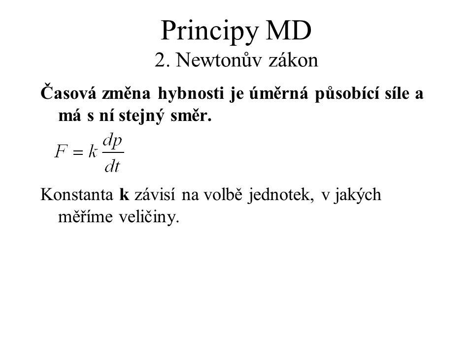 Principy MD 2. Newtonův zákon Časová změna hybnosti je úměrná působící síle a má s ní stejný směr. Konstanta k závisí na volbě jednotek, v jakých měří