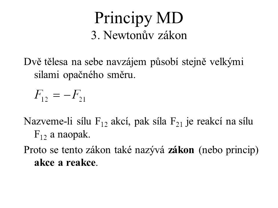 Principy MD 3. Newtonův zákon Dvě tělesa na sebe navzájem působí stejně velkými silami opačného směru. Nazveme-li sílu F 12 akcí, pak síla F 21 je rea