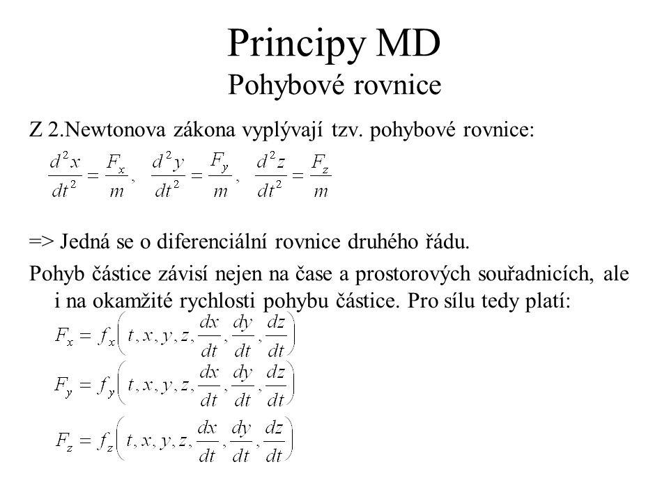 Principy MD Pohybové rovnice Z 2.Newtonova zákona vyplývají tzv. pohybové rovnice: => Jedná se o diferenciální rovnice druhého řádu. Pohyb částice záv