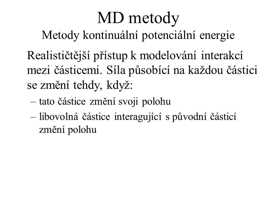 MD metody Metody kontinuální potenciální energie Realističtější přístup k modelování interakcí mezi částicemi. Síla působící na každou částici se změn