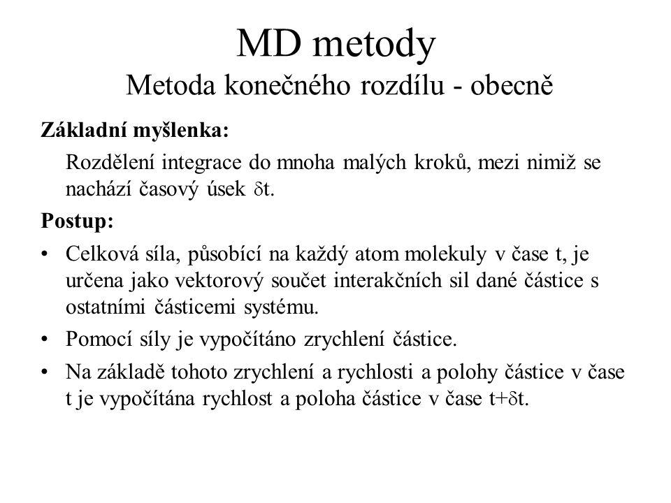 MD metody Metoda konečného rozdílu - obecně Základní myšlenka: Rozdělení integrace do mnoha malých kroků, mezi nimiž se nachází časový úsek  t. Postu