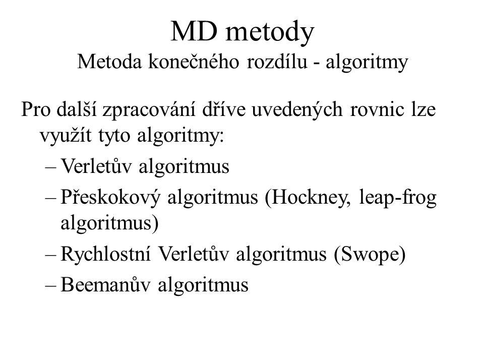 MD metody Metoda konečného rozdílu - algoritmy Pro další zpracování dříve uvedených rovnic lze využít tyto algoritmy: –Verletův algoritmus –Přeskokový algoritmus (Hockney, leap-frog algoritmus) –Rychlostní Verletův algoritmus (Swope) –Beemanův algoritmus
