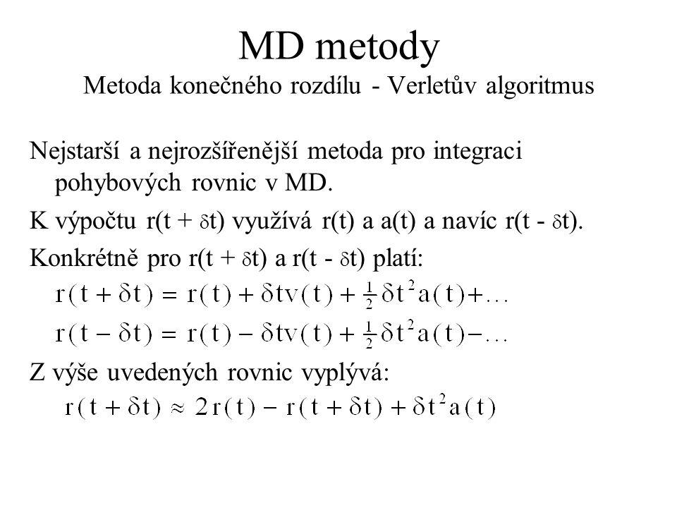 MD metody Metoda konečného rozdílu - Verletův algoritmus Nejstarší a nejrozšířenější metoda pro integraci pohybových rovnic v MD. K výpočtu r(t +  t)