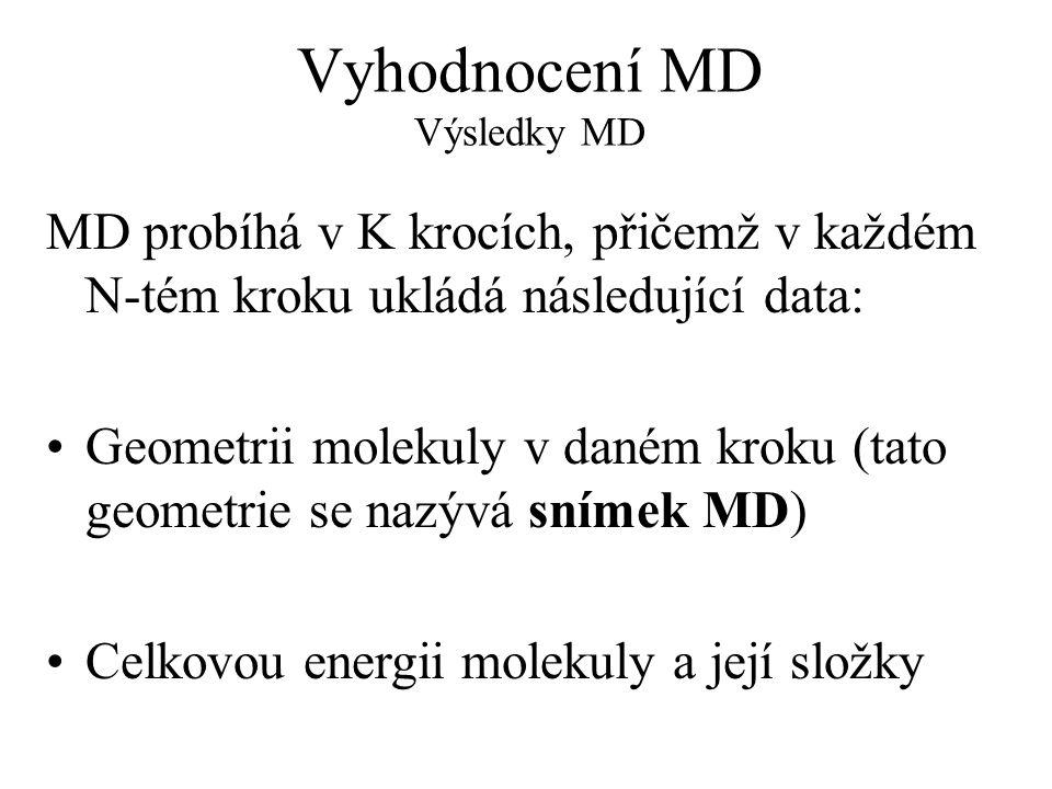 Vyhodnocení MD Výsledky MD MD probíhá v K krocích, přičemž v každém N-tém kroku ukládá následující data: Geometrii molekuly v daném kroku (tato geometrie se nazývá snímek MD) Celkovou energii molekuly a její složky