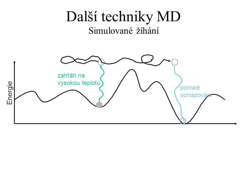 Další techniky MD Simulované žíhání Energie zahřátí na vysokou teplotu pomalé ochlazování