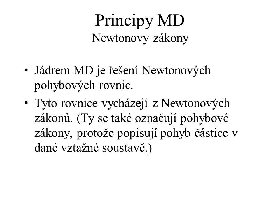 Principy MD Newtonovy zákony Jádrem MD je řešení Newtonových pohybových rovnic. Tyto rovnice vycházejí z Newtonových zákonů. (Ty se také označují pohy