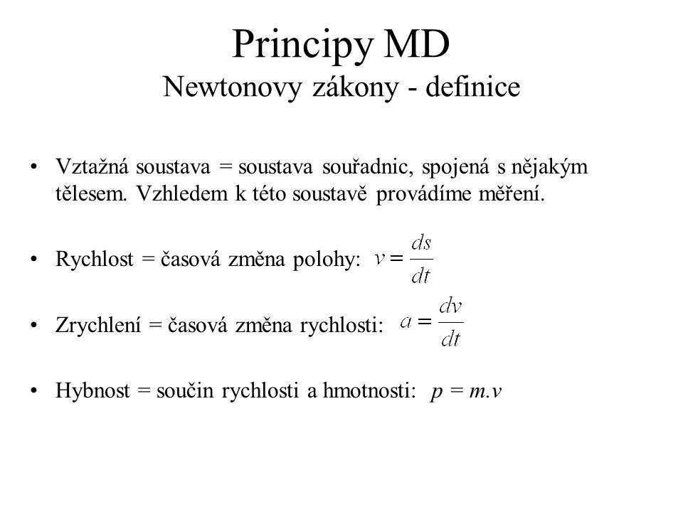 Principy MD Typy problémů Na částice nepůsobí žádná síla (dochází pouze k jejich srážkám).