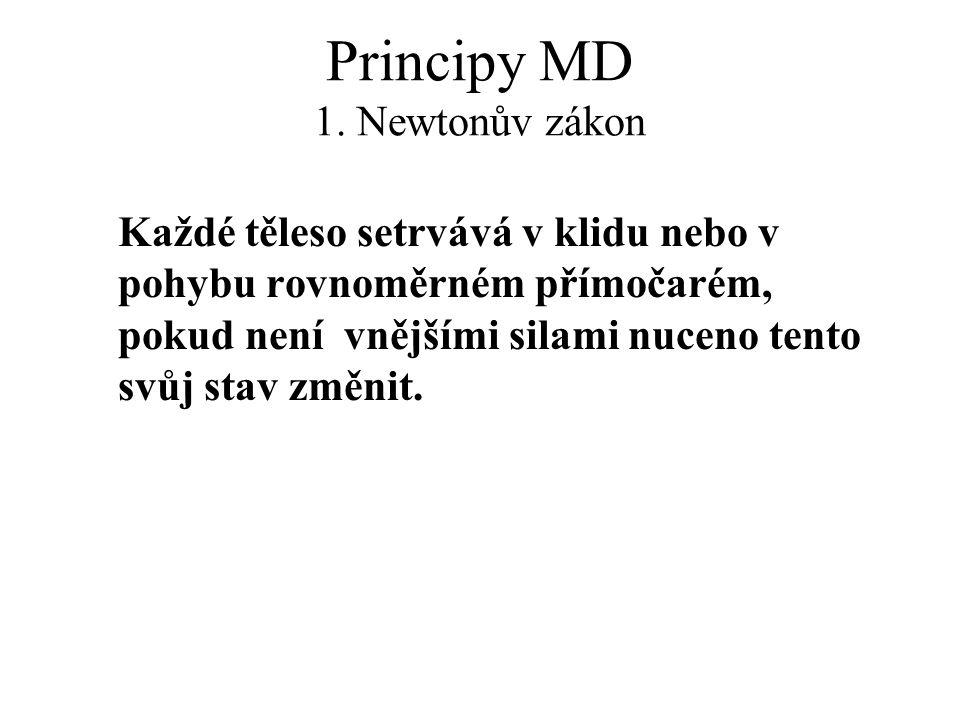 Principy MD 1. Newtonův zákon Každé těleso setrvává v klidu nebo v pohybu rovnoměrném přímočarém, pokud není vnějšími silami nuceno tento svůj stav zm