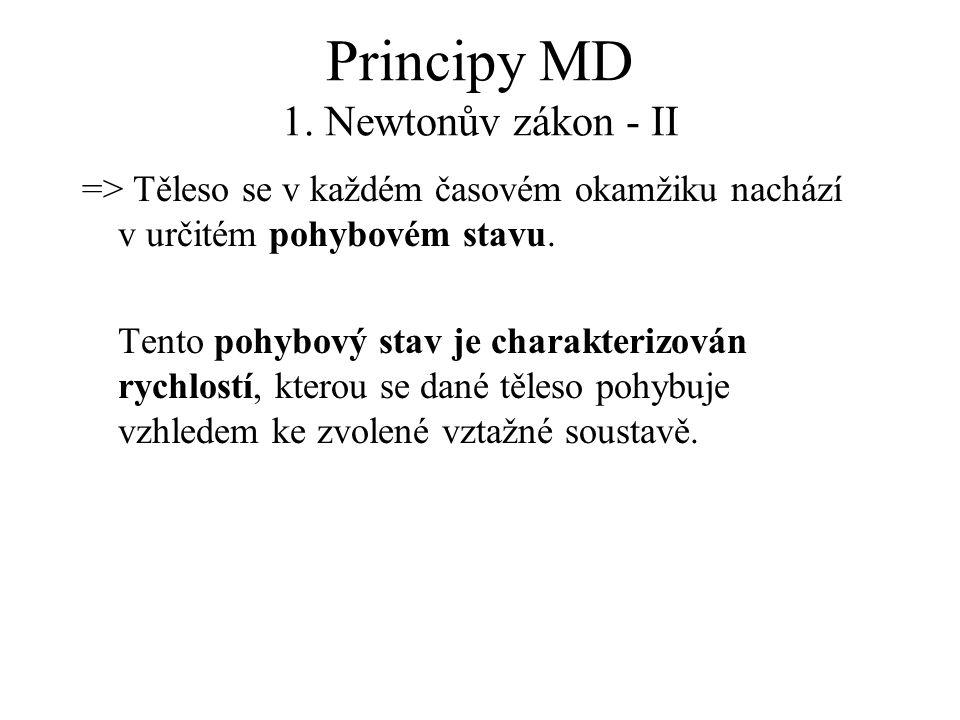 Principy MD 1. Newtonův zákon - II => Těleso se v každém časovém okamžiku nachází v určitém pohybovém stavu. Tento pohybový stav je charakterizován ry