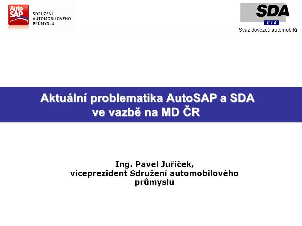 Aktuální problematika AutoSAP a SDA Aktuální problematika AutoSAP a SDA ve vazbě na MD ČR Ing.