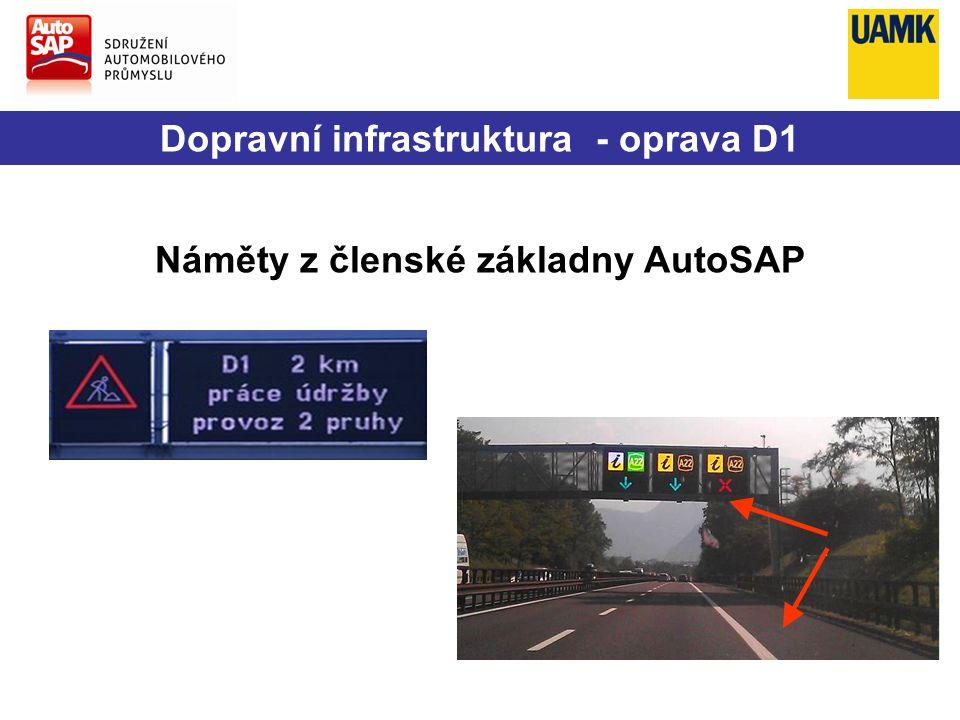 Dopravní infrastruktura - oprava D1 Náměty z členské základny AutoSAP