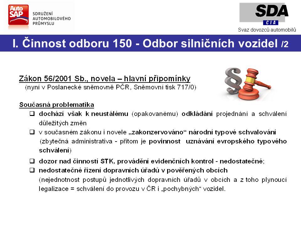 I. Činnost odboru 150 - Odbor silničních vozidel /2 Svaz dovozců automobilů