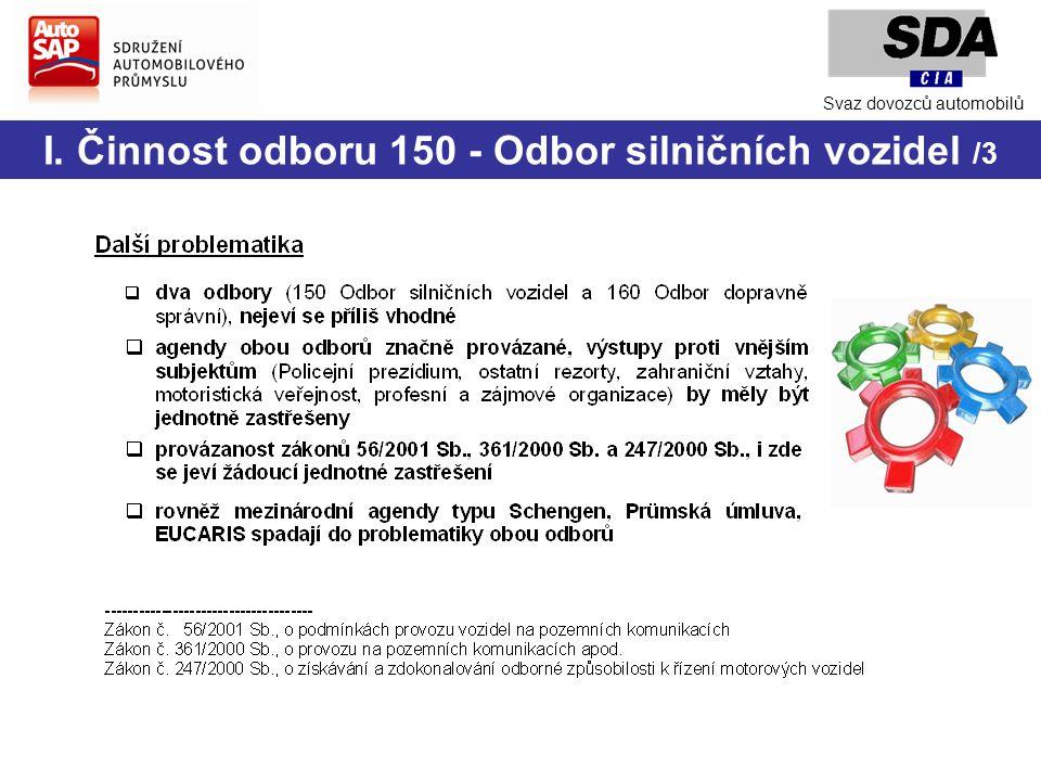 I. Činnost odboru 150 - Odbor silničních vozidel /3 Svaz dovozců automobilů
