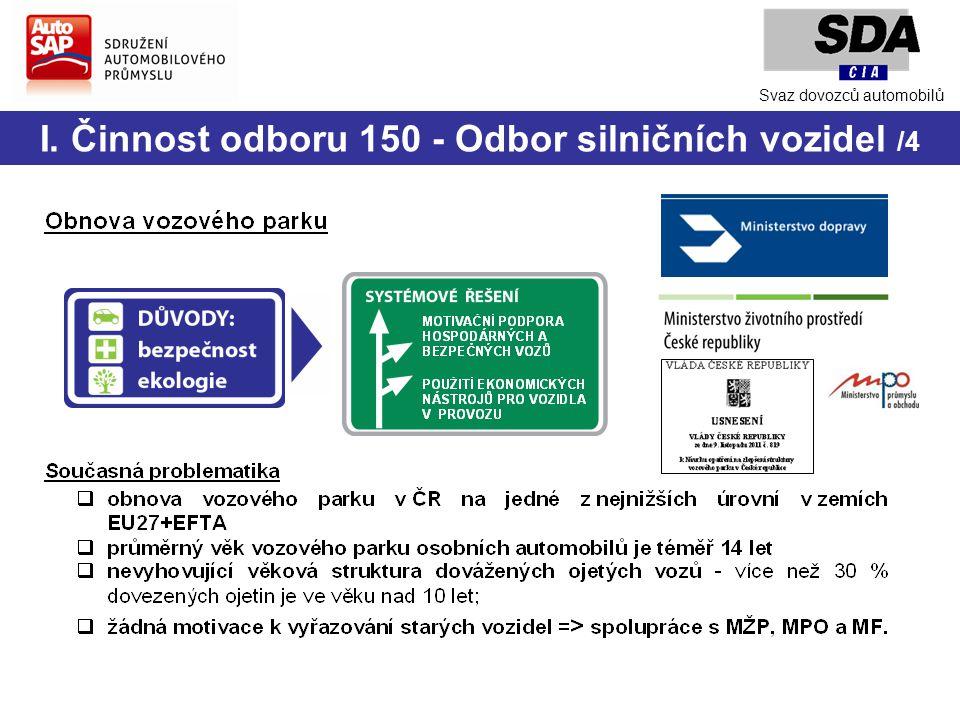 I. Činnost odboru 150 - Odbor silničních vozidel /4 Svaz dovozců automobilů