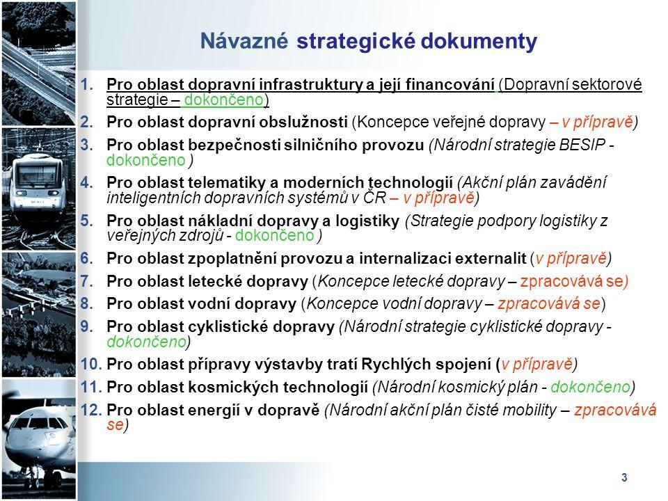 3 Návazné strategické dokumenty 1.Pro oblast dopravní infrastruktury a její financování (Dopravní sektorové strategie – dokončeno) 2.Pro oblast doprav