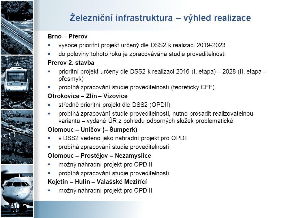 Železniční infrastruktura – výhled realizace Brno – Přerov  vysoce prioritní projekt určený dle DSS2 k realizaci 2019-2023  do poloviny tohoto roku
