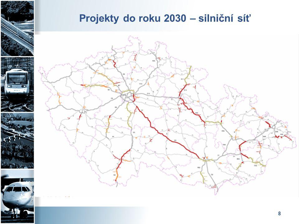 Silniční infrastruktura – D+R D1  Mirošovice – Kývalka – modernizace 4 úseků probíhá, 3 další úseky předpoklad zahájení tendrů v Q2/2014  Přerov – Lipník - předpokládané zahájení tendru v Q2/2014, dokončení v 2017  Říkovice – Přerov - 2015 – 2018 (dle postupu majetkoprávní přípravy) R35  Na celý úsek Opatovice – Mohelnice dokončena studie proveditelnosti, bude schvalovat CK MD, následně DÚR Ostrov – Staré Město a dokončení EIA Staré Město – Mohelnice)  MÚK Opatovice – v realizaci, ukončení 12/2015, OPD I  Opatovice – Časy – Ostrov – 2015-2018 (dle postupu majetkoprávní přípravy)  Křelov – Slavonín, 2.