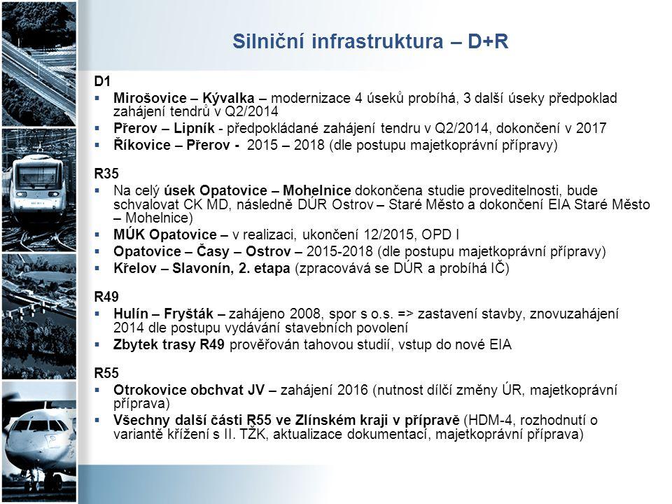 Silniční infrastruktura – D+R D1  Mirošovice – Kývalka – modernizace 4 úseků probíhá, 3 další úseky předpoklad zahájení tendrů v Q2/2014  Přerov – L