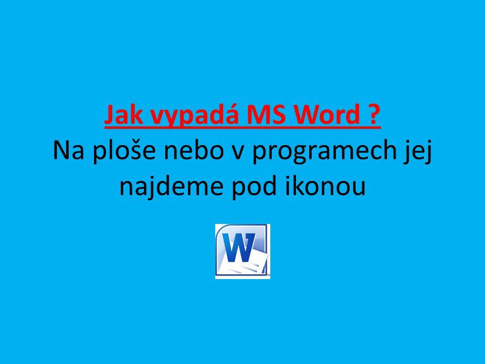 Jak vypadá MS Word Na ploše nebo v programech jej najdeme pod ikonou