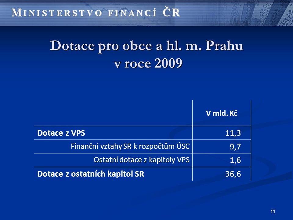 11 Dotace pro obce a hl. m. Prahu v roce 2009 V mld.